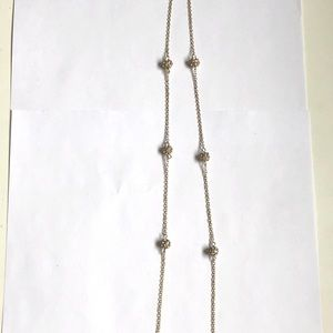 J. Crew Long Gold Necklace With Diamond Studs